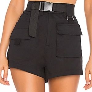 I. AM. GIA Black Flat Front Shorts Pockets & Belt